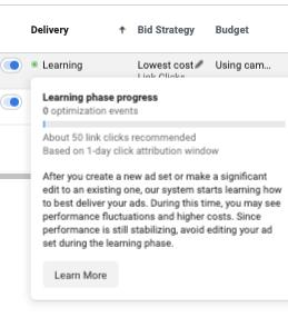 Fase di apprendimento in Facebook Ads Manager